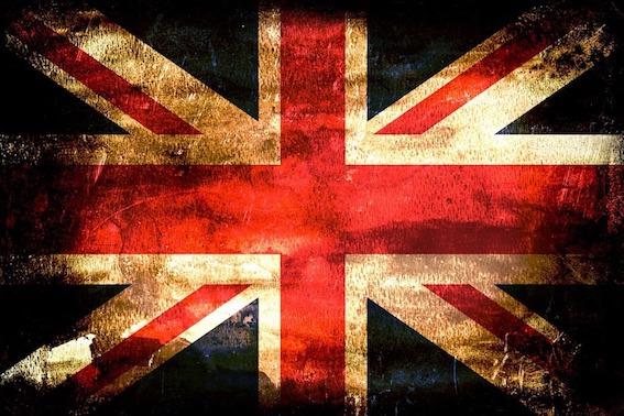 Union Jack Fahne in schwarz als Symbol vom Brexit